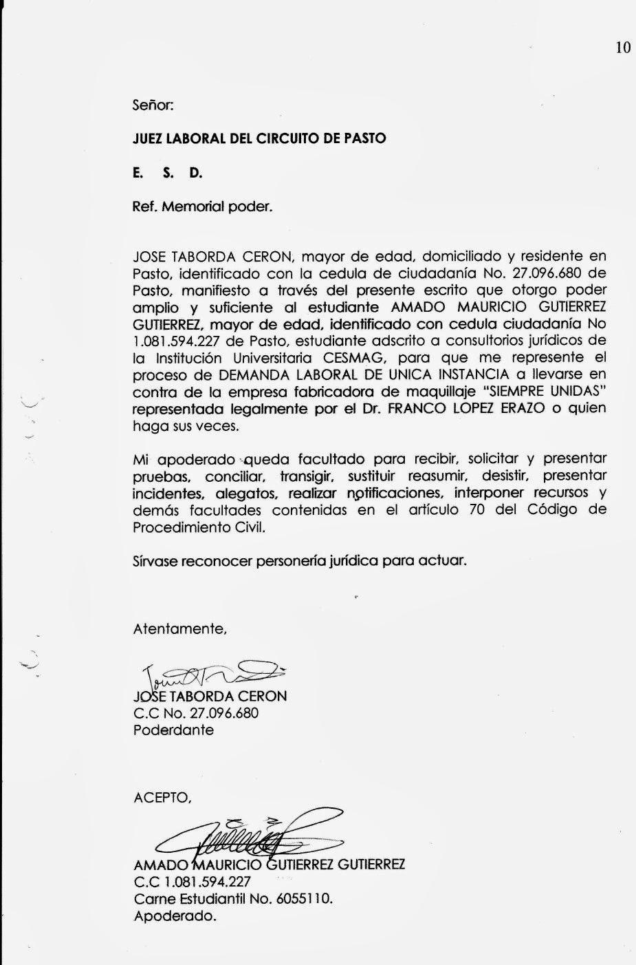 MODELO DEMANDA PROCESAL LABORAL: PROCESO LABORAL ÚNICA INSTANCIA ...