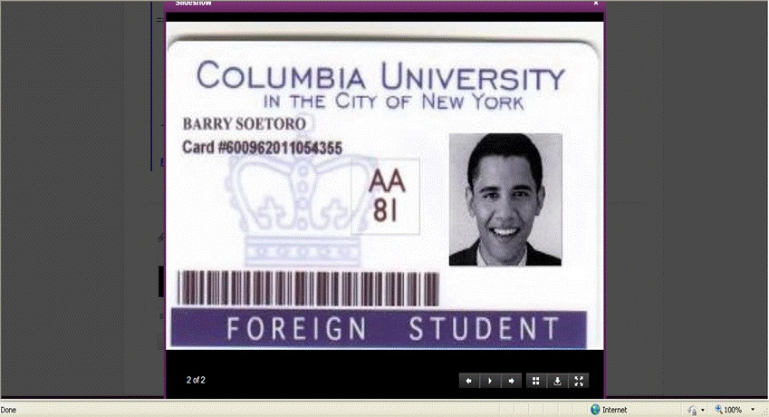 Columbia University Obama Foreign Student ID