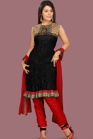 Churidar-Red-and-Black-Salwar-Kameez
