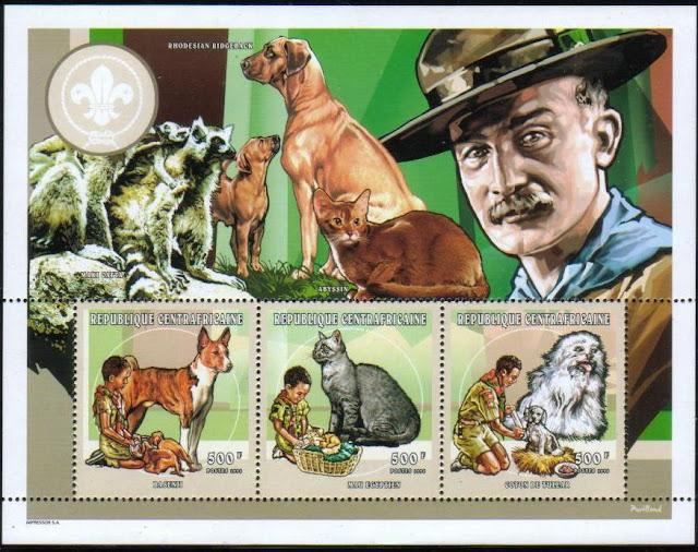 1998年中央アフリカ共和国 バセンジー コトン・ド・テュレアールと猫の切手
