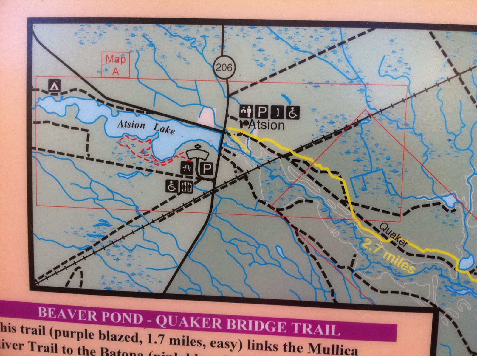 trailhead for yellow blazed trail. agile trekker mullica river trail to beaver pond wharton state