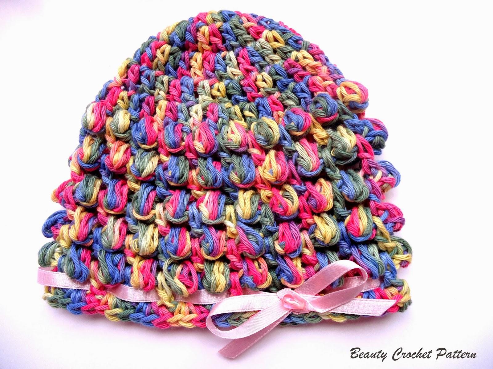 Free Crochet Pattern Bobble Hat : Beauty Crochet Pattern: SPRING BABY BOBBLE CROCHET HAT ...