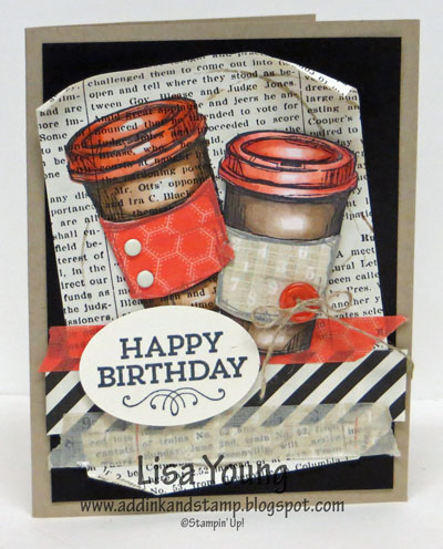 Stampin' Up! card with coffee cups using washi tape and blendabilities and typeset paper