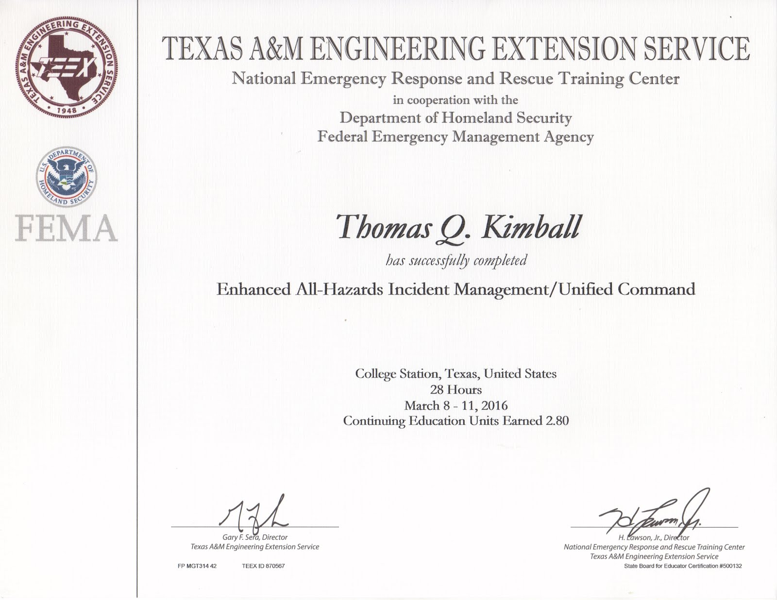 TEEX MGT-314 Enhanced All-Hazards Incident Management/Unified Command course