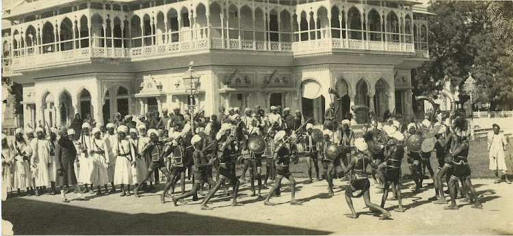 Ceremonial Dancers At The City Palace In Jaipur