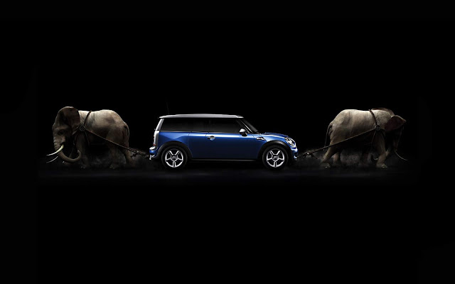 Blue Mini Cooper And Elephants Black Wallpaper hd