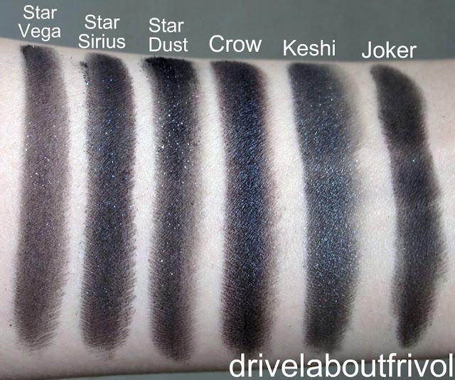 swatch Addiction eyeshadow 023P Star Vega, 024P Star Sirius, 022P Stardust, 021ME Crow, 020P Keshi, 019M Joker