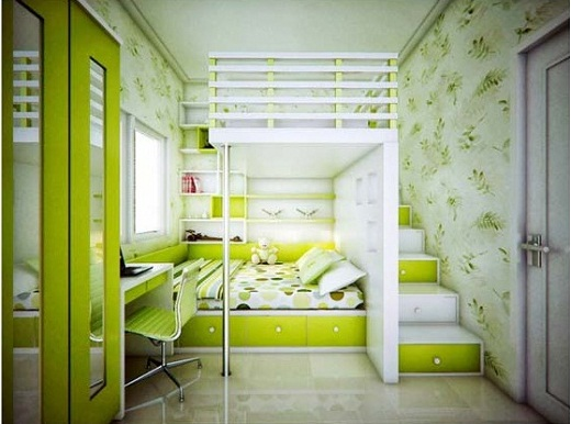 Modern Smart Teenagers Green Bedroom