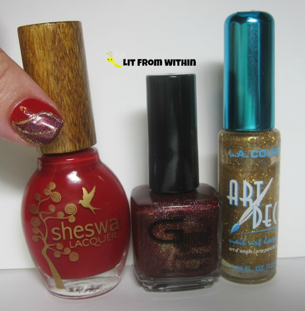 bottle shot:  Sheswai Honey Fox, Glitter Gal Hot Chilli, and a gold nail art striper