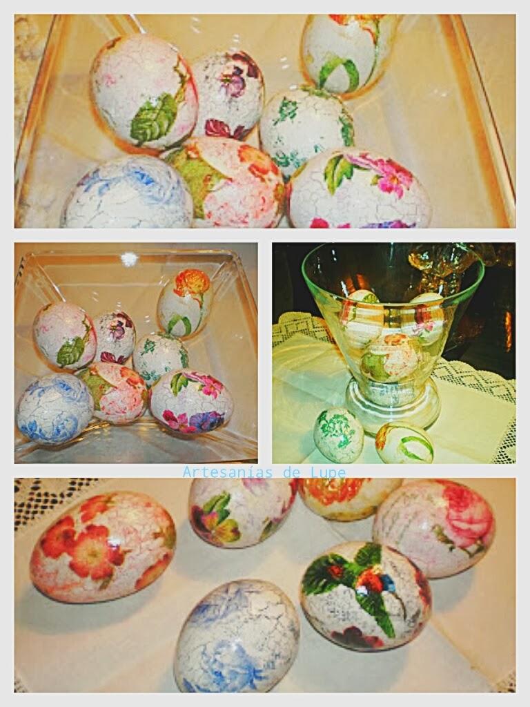 Huevos con decoupage craquelado