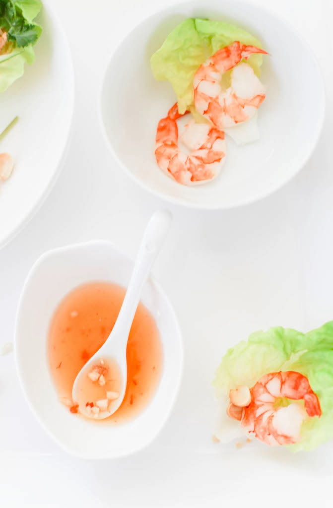 Shrimp and Butter Lettuce Cups with Vietnamese Nuoc Cham | via Chandara Creative