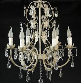 Lampara Forja y Acrilica 6 Brazos Salas, lampara cristales
