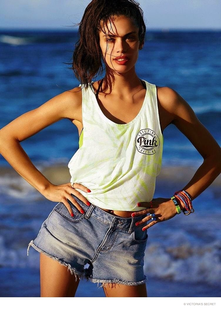 Sara Sampaio is sun-kissed for the 2015 Victoria's Secret Pink Lookbook