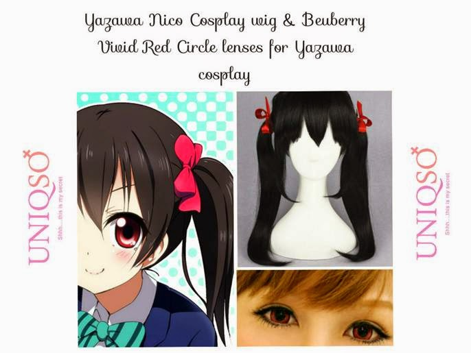 Yazawa Nico Eyes & Hair: Cosplay Nico using Vivid Red Lenses & Black Wig
