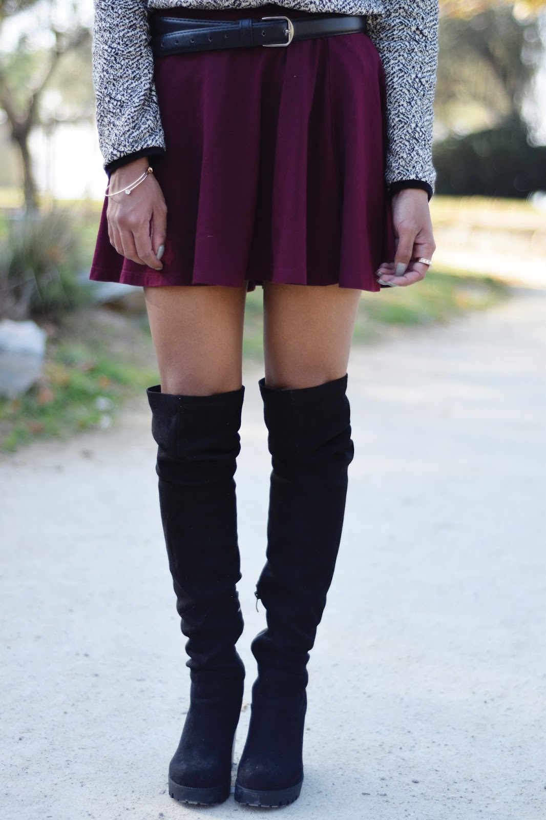 k meets style Forever 21 skater skirt ,cozy gray sweater and suede thigh boots