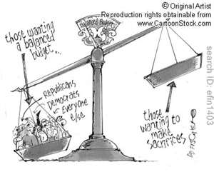 cartoon: balance scale with all wanting a balanced budget but none wanting to sacrifice