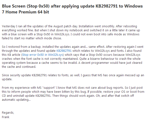 Latest updates issued by Microsoft for Windows 7 and Windows 8 cause Blue Screens of Death™