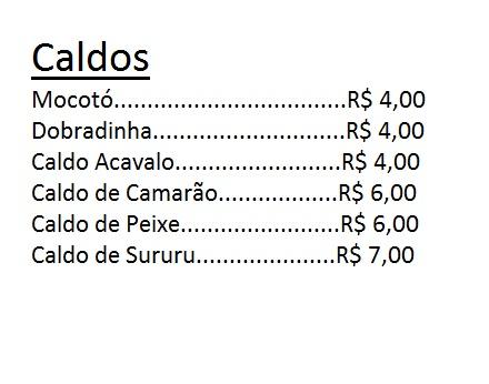 CARDÁPIO DE CALDOS