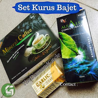 mineral coffee, garlic, bv alfalfa drink