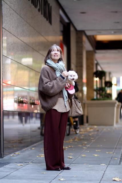 Marsha Burns downtown Seattle street style fashion dog