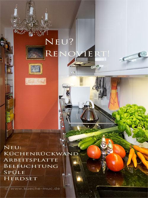 Eine rote Wand in der Küche gibt dieser Küche einen wohnlichen Charakter mit mediterranem  Flair.