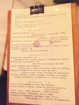 Restaurant Caillebotte Menu