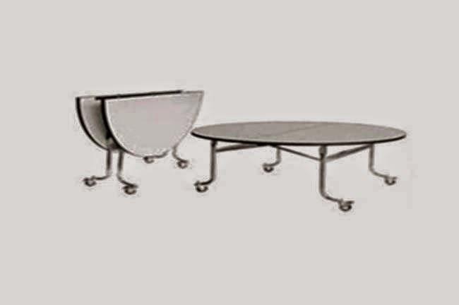 โต๊ะกลมพับแตงโม มีล้อ