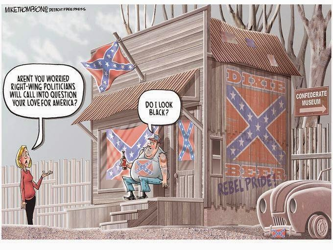 Redneck sitting in front of shack adorned with Conferate flags.  Woman asks,
