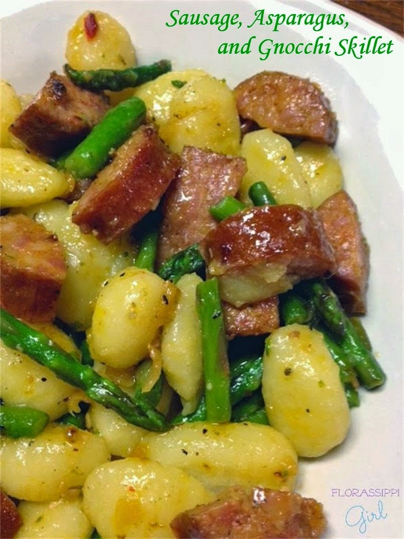 http://florassippigirl.blogspot.ca/2015/04/sausage-asparagus-and-gnocchi-skillet.html