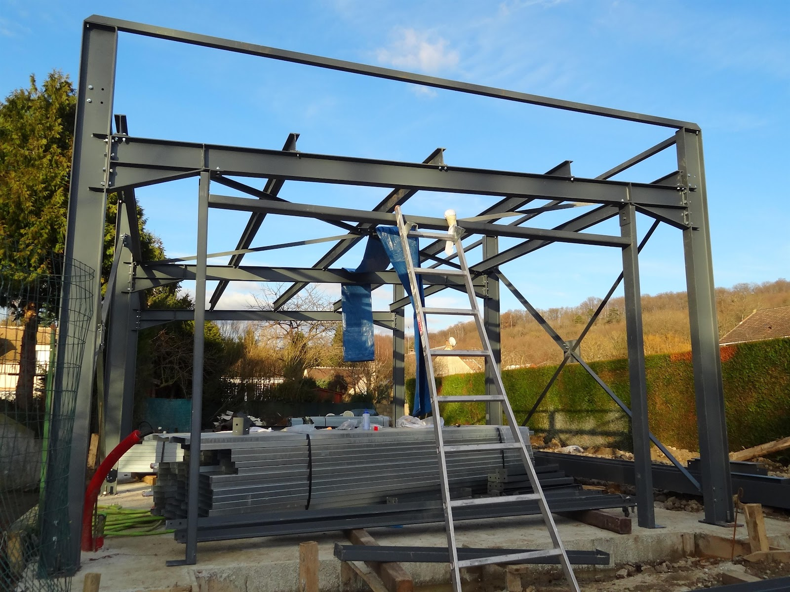 Construction maison ossature m tallique le garage - Structure metallique maison ...