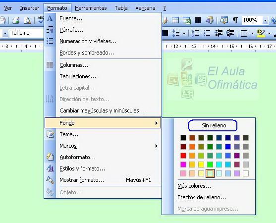 El Aula Ofimática: Cómo cambiar el color de fondo en Word
