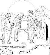 La Tumba vacía de Jesus para colorear. Dibujo para colorear de la Tumba . (empty tomb easter morning)
