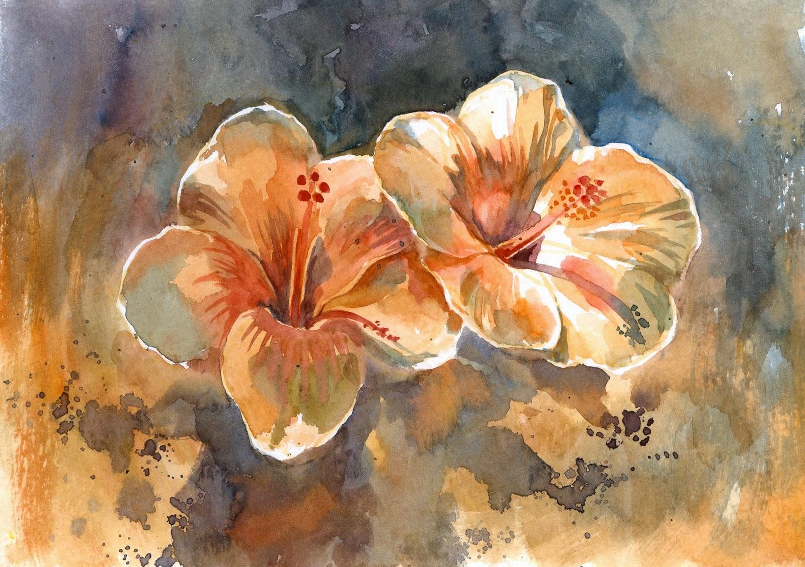Pin peinture aquarelle couleurs dessin paysage oiseaux - Dessin d hibiscus ...