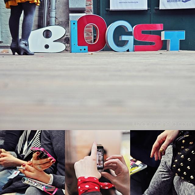 [ luzia pimpinella BLOG ] eine fotocollage mit bildern von der BLOGST blogger konferenz: empfang und teilnehmerinnen