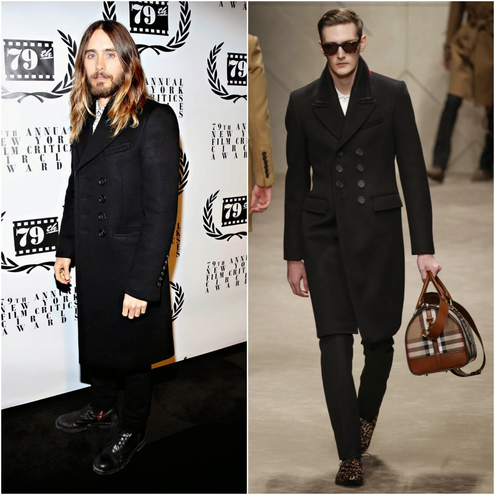 Jared Leto in Burberry Prorsum FW13 BONDED CASHMERE TOPCOAT - 2013 New York Film Critics Circle Awards Ceremony