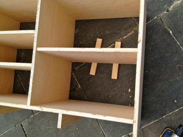 diy console shelves insert