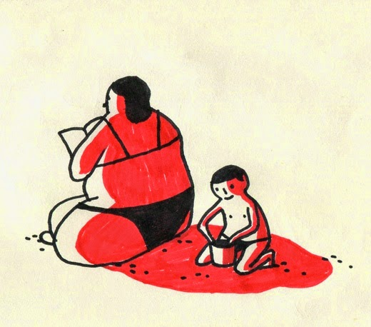 illustration by Quentin Vijoux of  mother and her kid on the beach sand