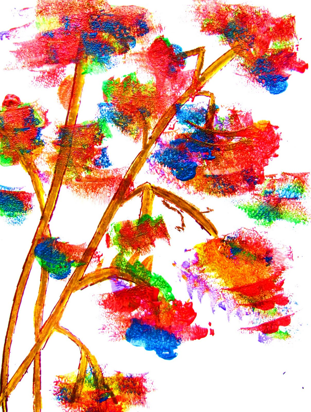 Colormehappy sponge painting fun to do easy art lesson for Simple watercolor paintings for kids