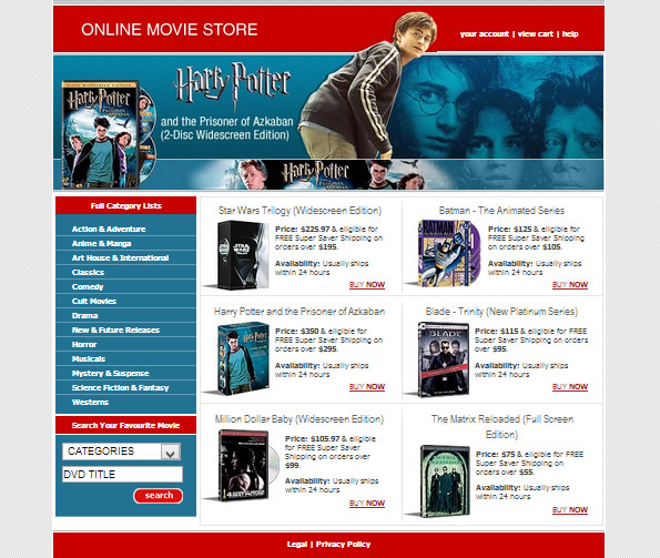 Ecommerce Site Name : Online Movie Store