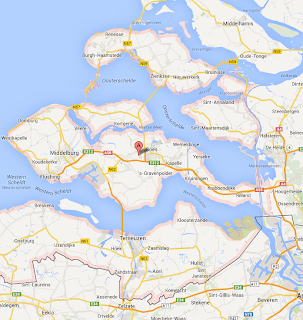 Map of Zeeland, Netherlands