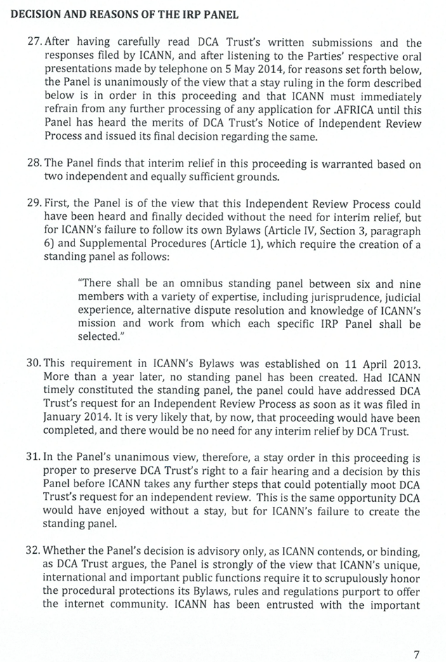 graphic of page 7 of IRP Panel decision in DCA Trust and ICANN case