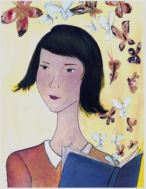 Girl with butterflies painting
