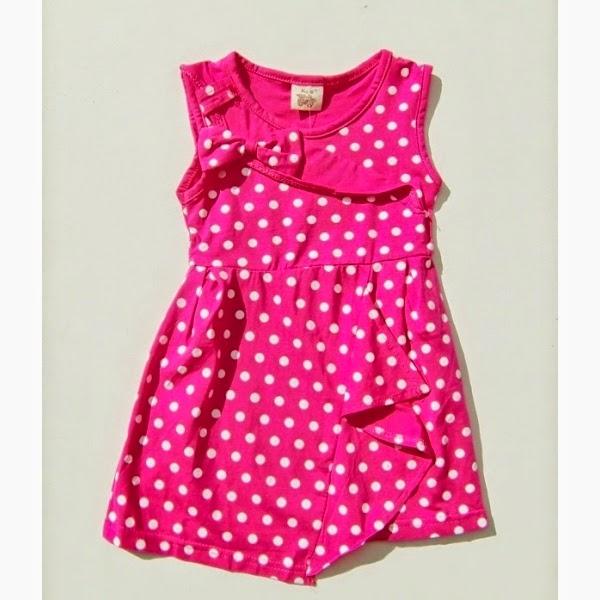 Baju dress anak perempuan branded motif pulkadot pink