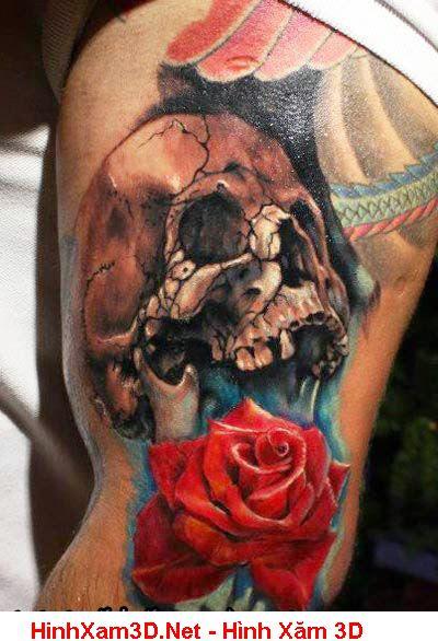 Hình Xăm Hoa Hồng Và Mặt Quỷ