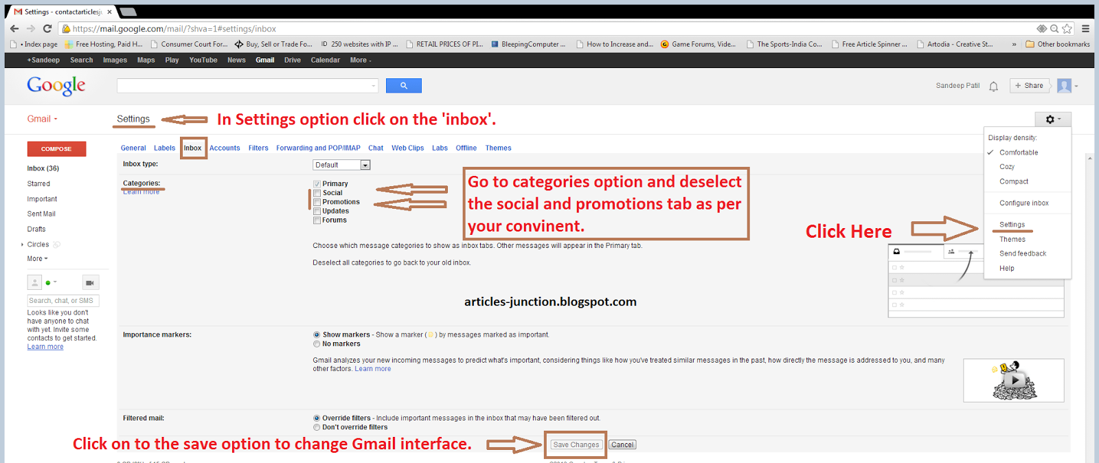 Alternative method to disable primary, social and promotion's tab in Gmail