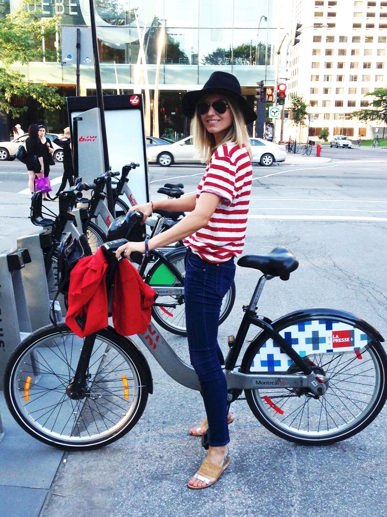 Montreal Bixi Bike Share Filippa K Stripe Tee Topshop Wide Brim Hat Loeffler Randalll