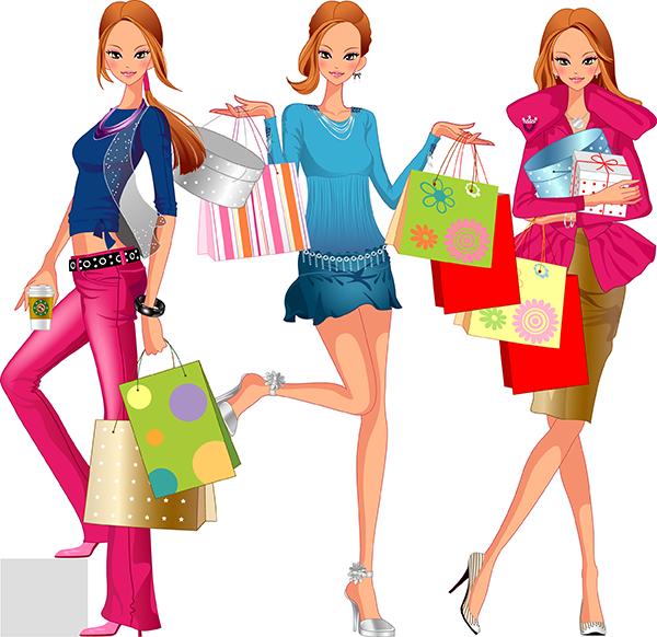 mujer muy mona de compras c