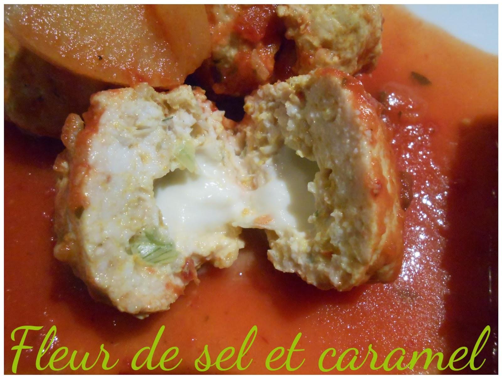 Boulettes de poulet pimentée au cœur de mozzarella