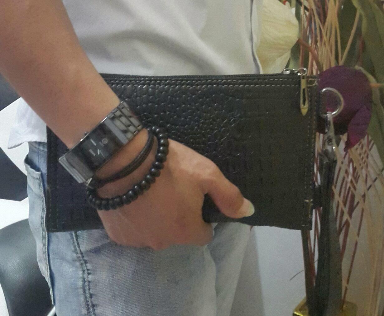 tas fashion cowok dan cewek Clutch bag mini motif croco kualit asli