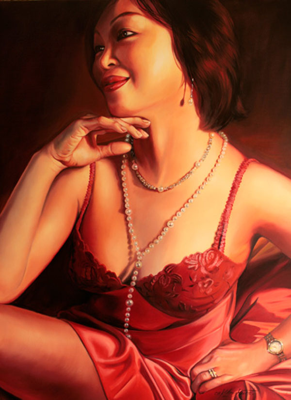 Realistic Silk and Glamour Oil Paintings by Kathrin Longhurst